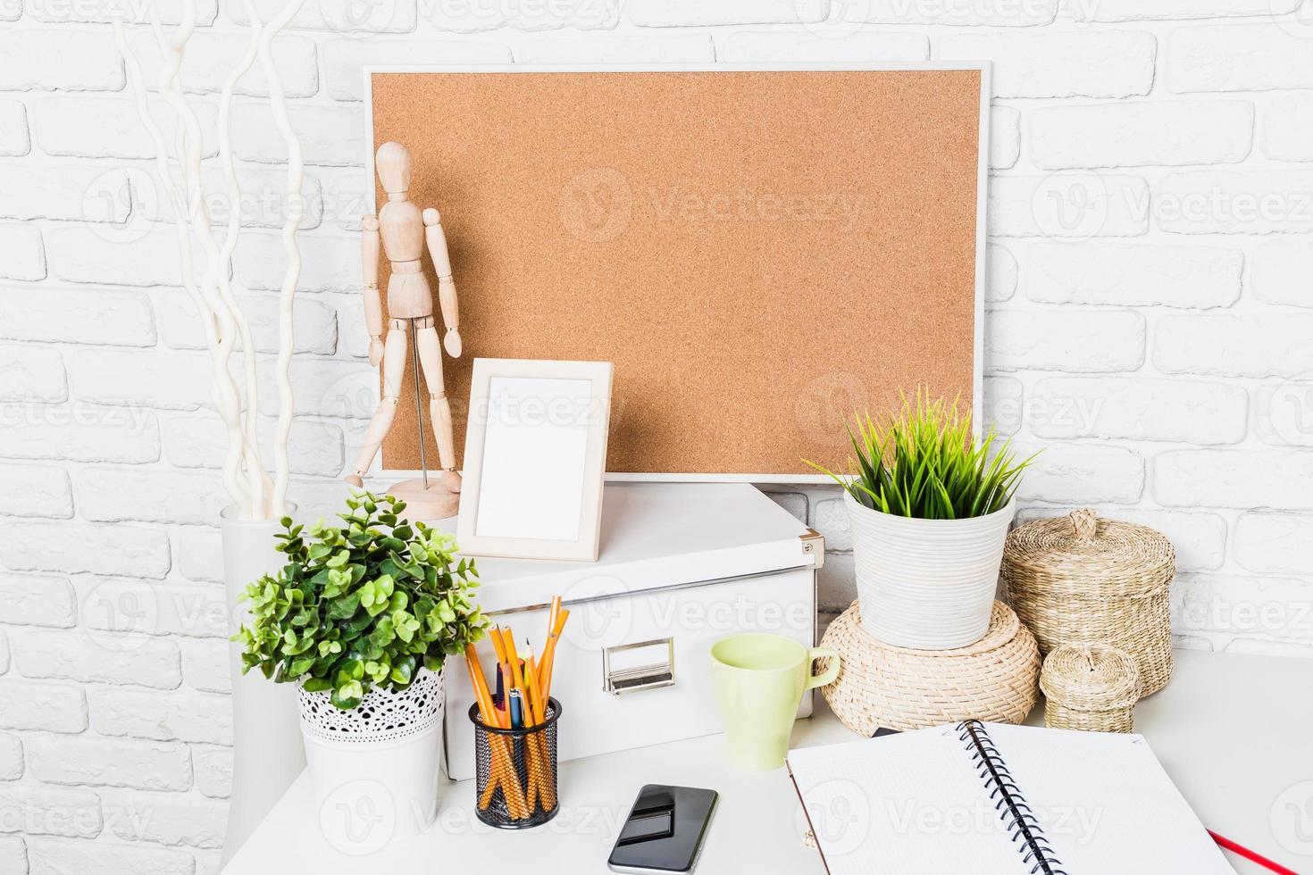 Stylish workspace on home photo