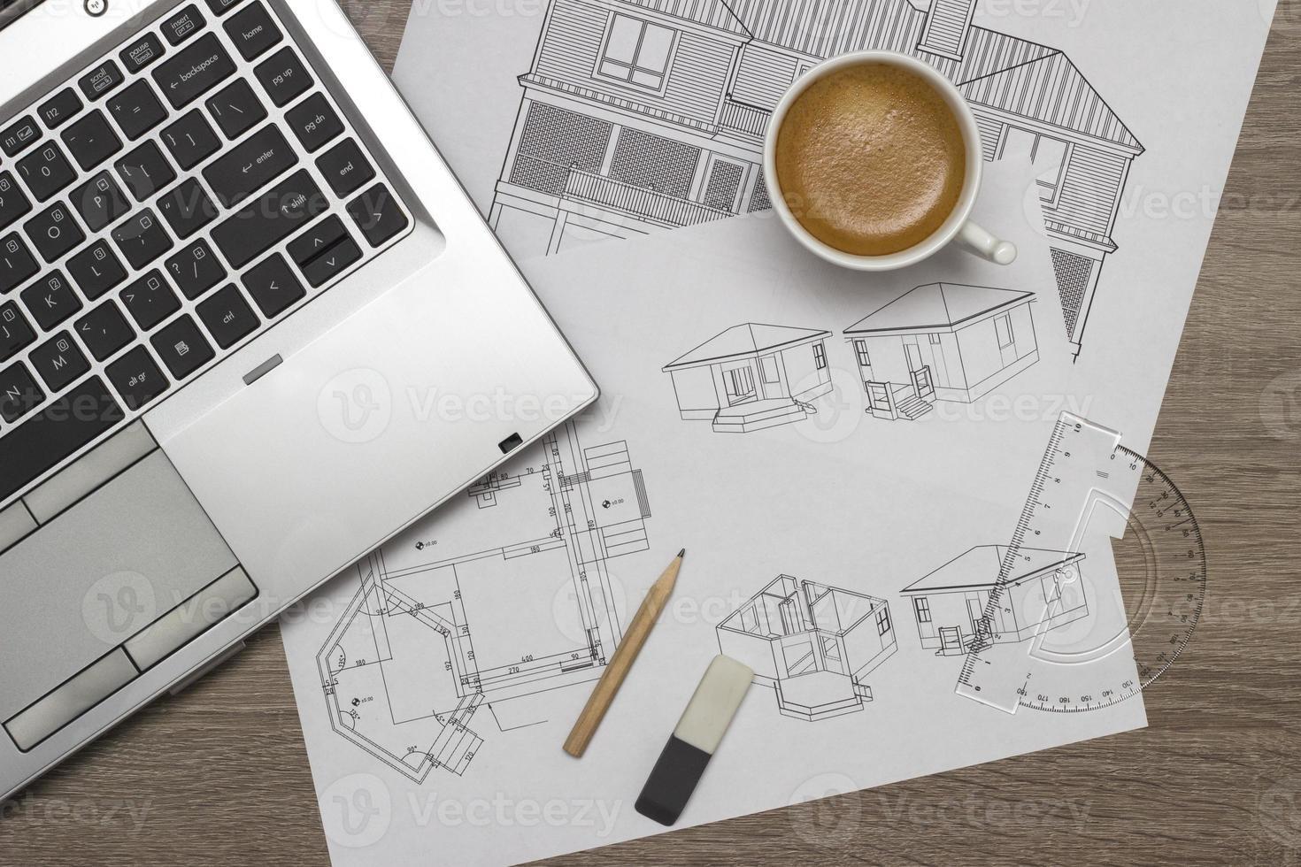 Architect blueprints photo