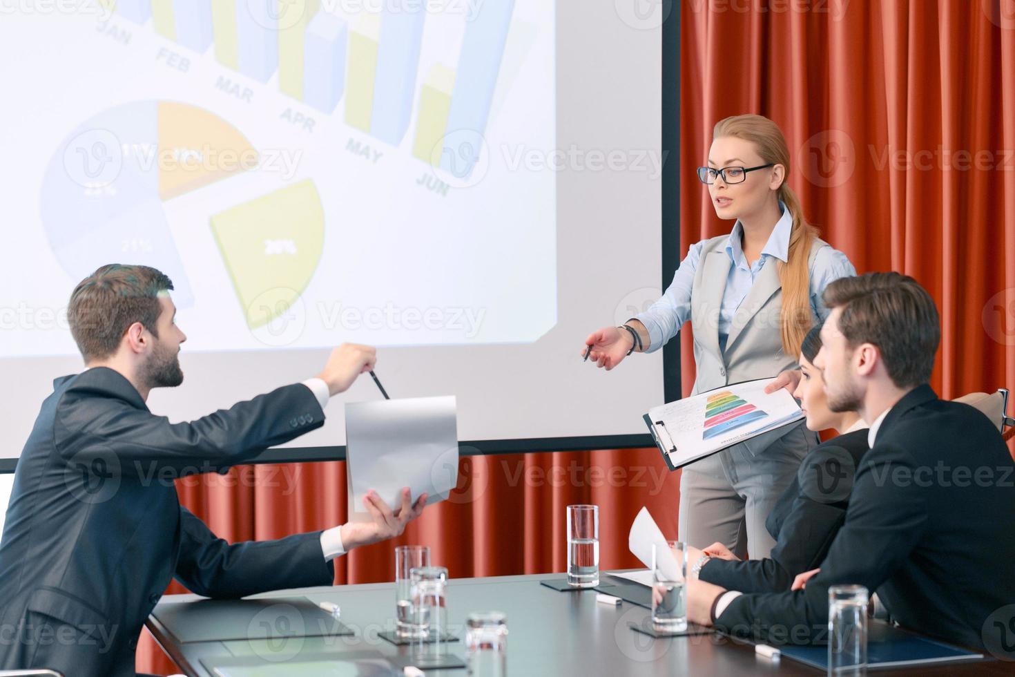 Making a presentation at meeting photo