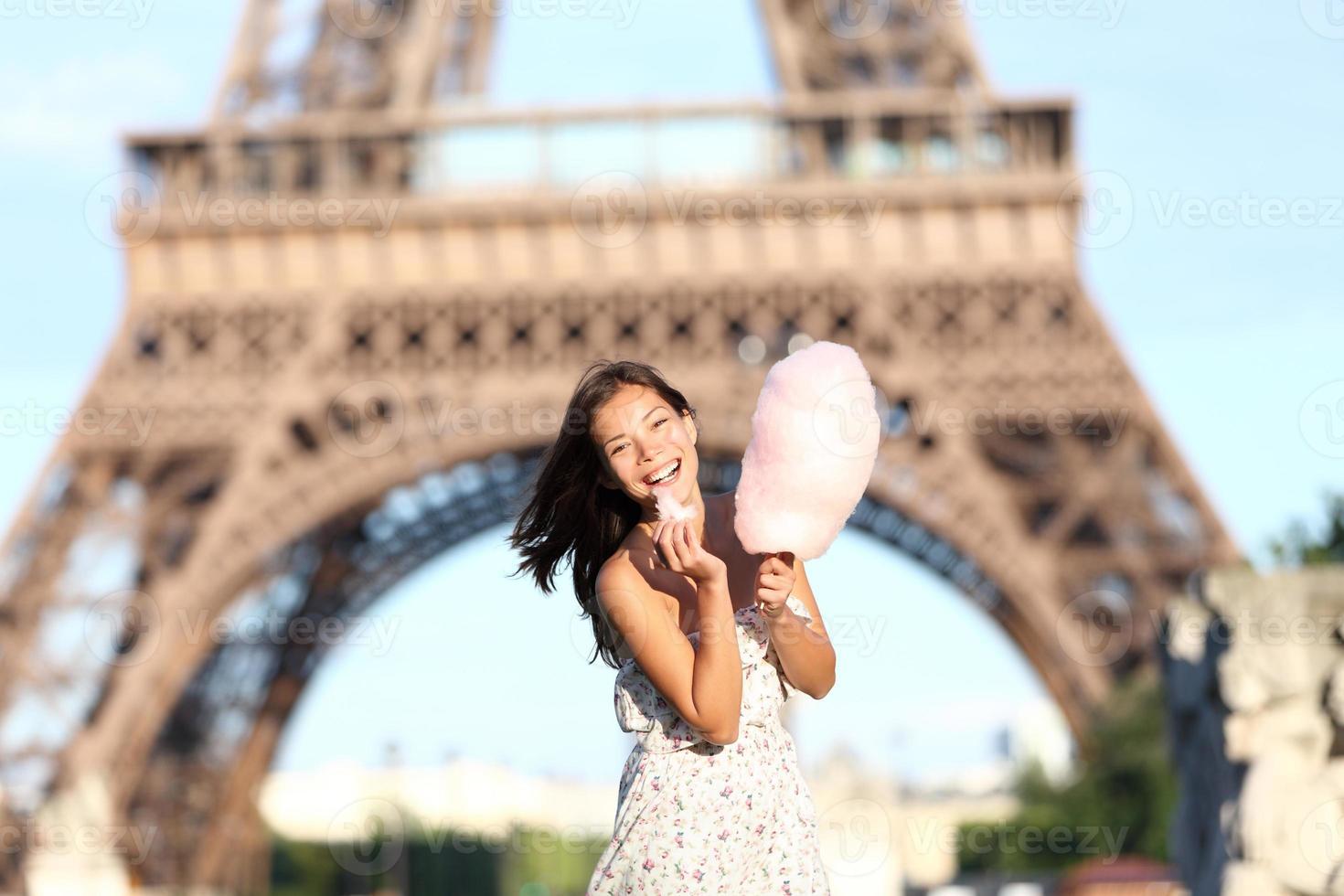 Paris Eiffel Tower woman photo