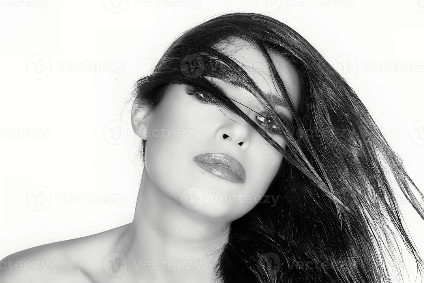 Hair Paraded. Beauty Fashion Portrait. Hairstyle. Monochrome Portrait photo