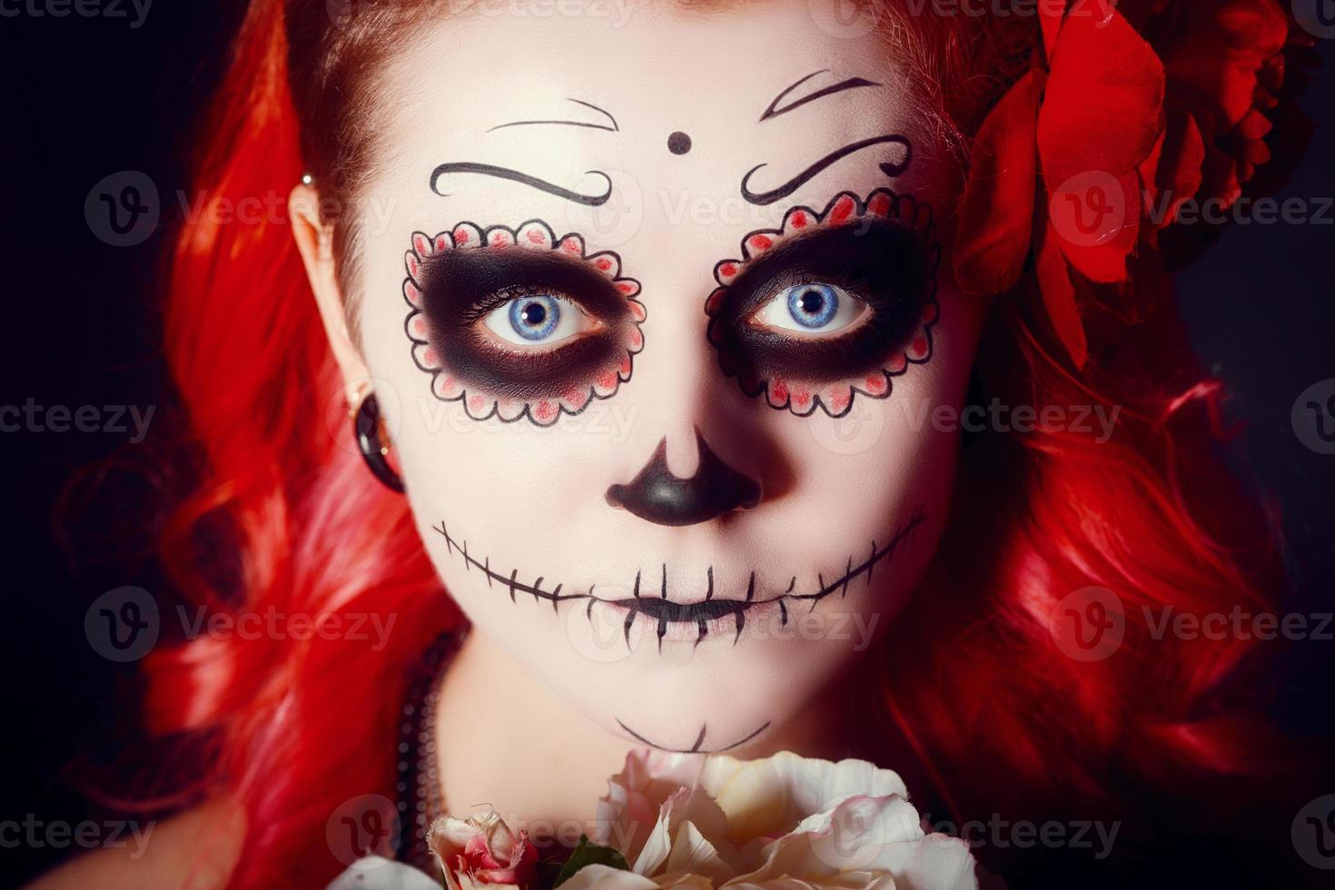 Skull lady portrait photo