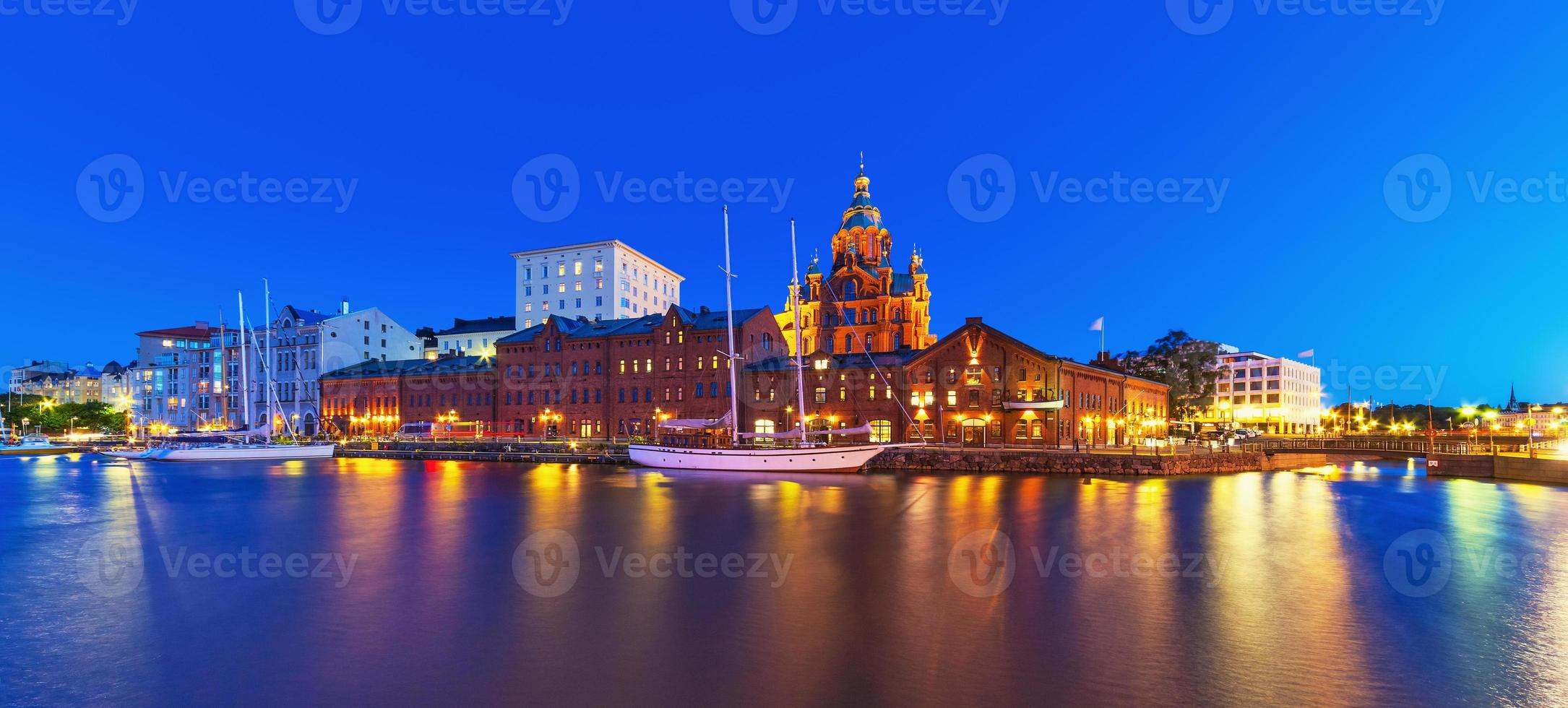 Night panorama of the Old Town in Helsinki, Finland photo