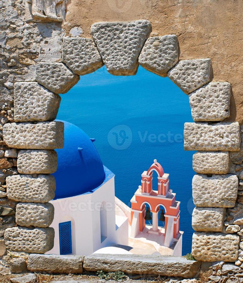 arquitectura tradicional de la aldea de oia en la isla de santorini foto