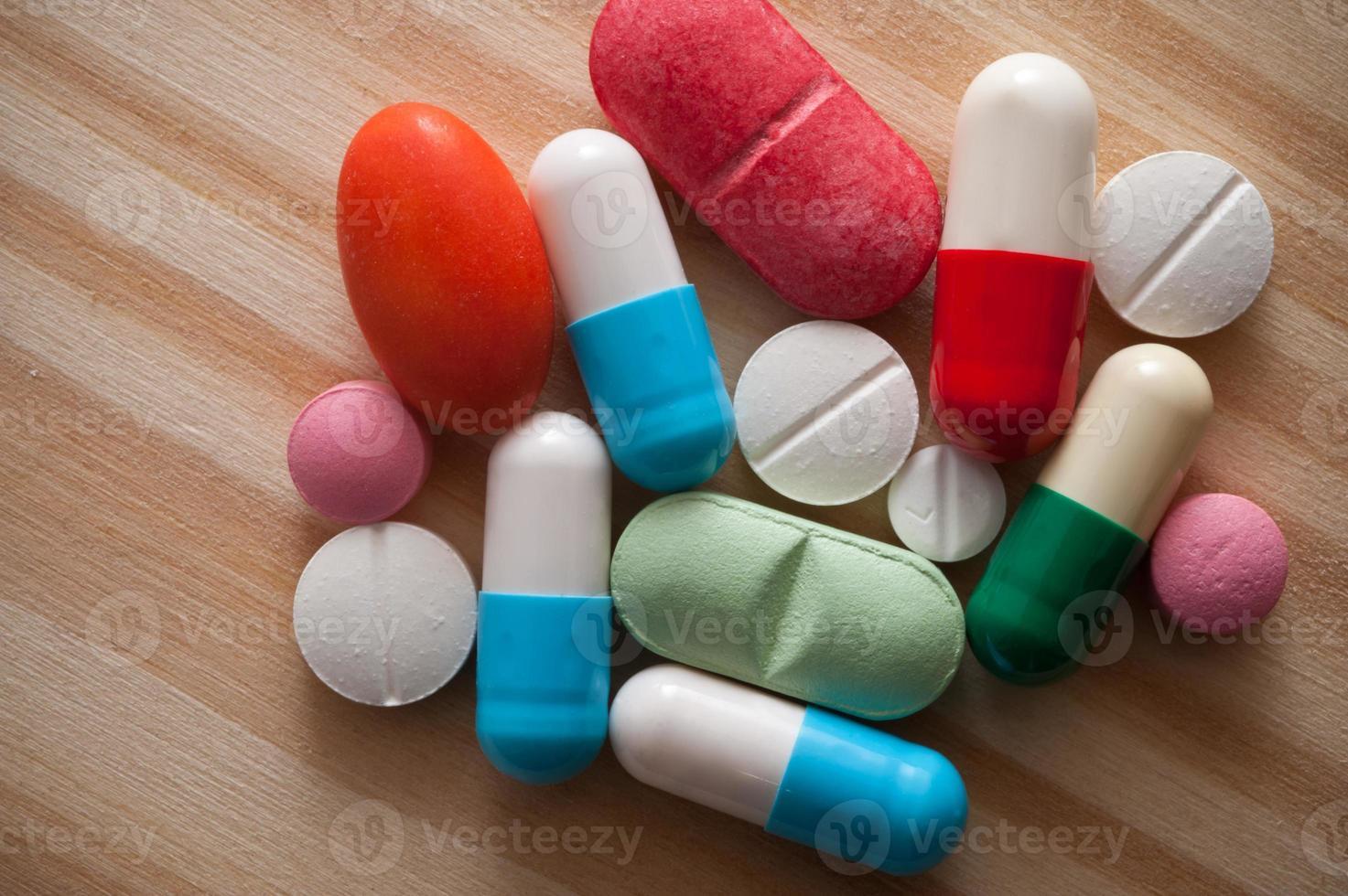 Close up pills. photo