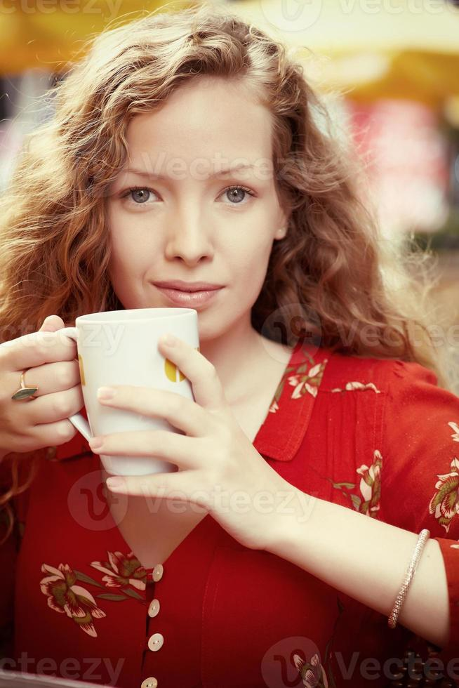 Portrait with coffee photo