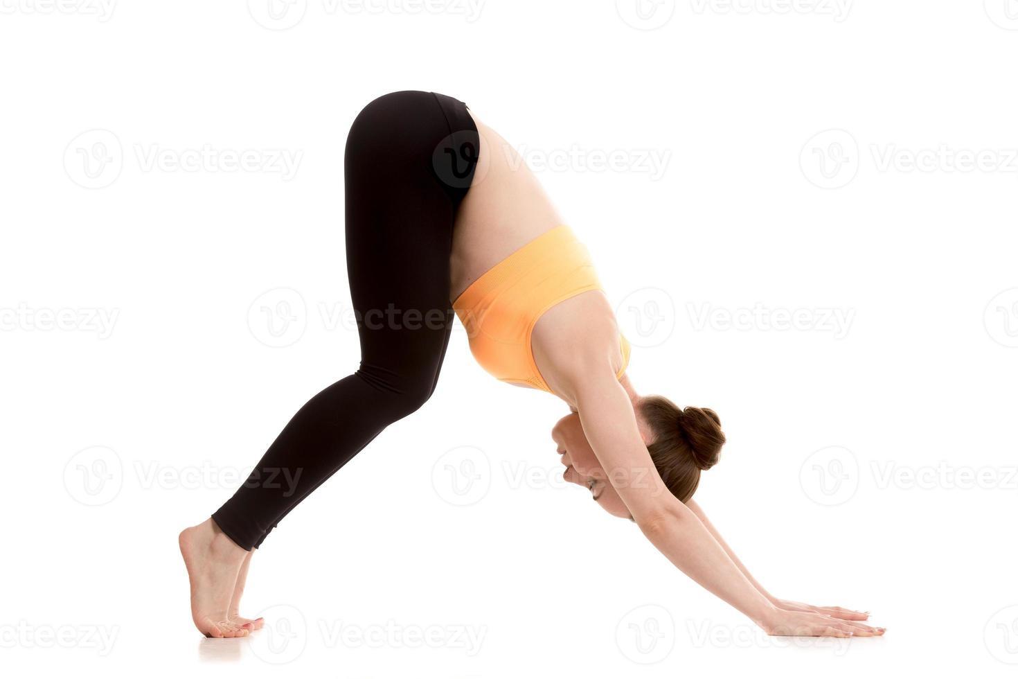 Downward-facing dog yoga pose for beginner photo