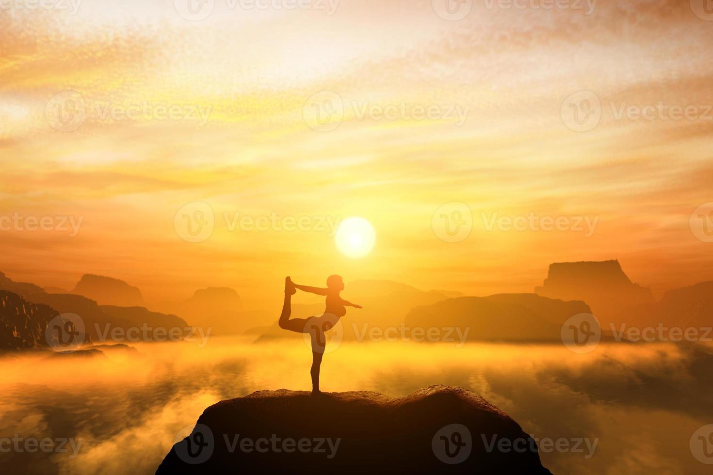 mujer meditando en la posición de yoga bailarina foto