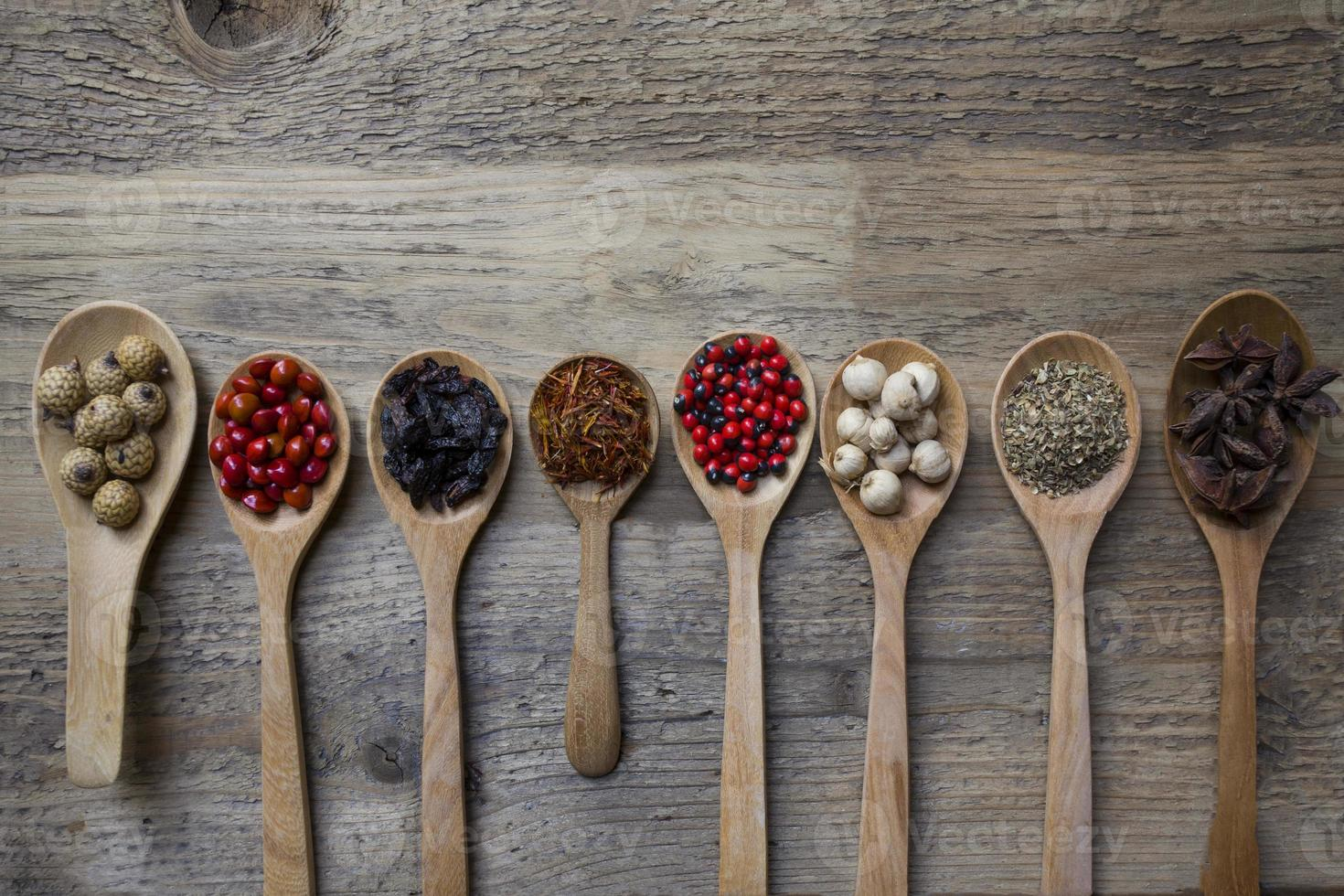 Spices on wood spoons photo