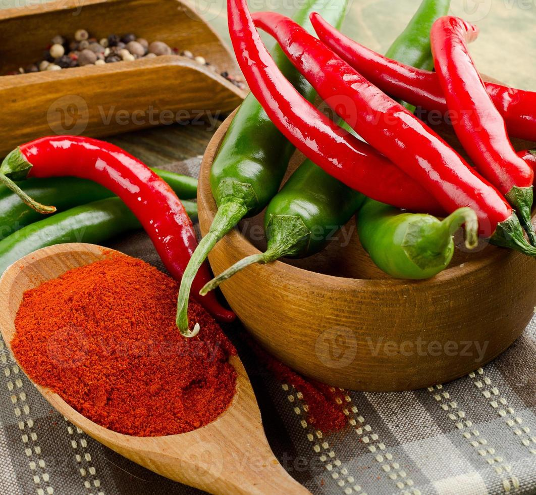 Chili Peppers in bowl on wooden table photo