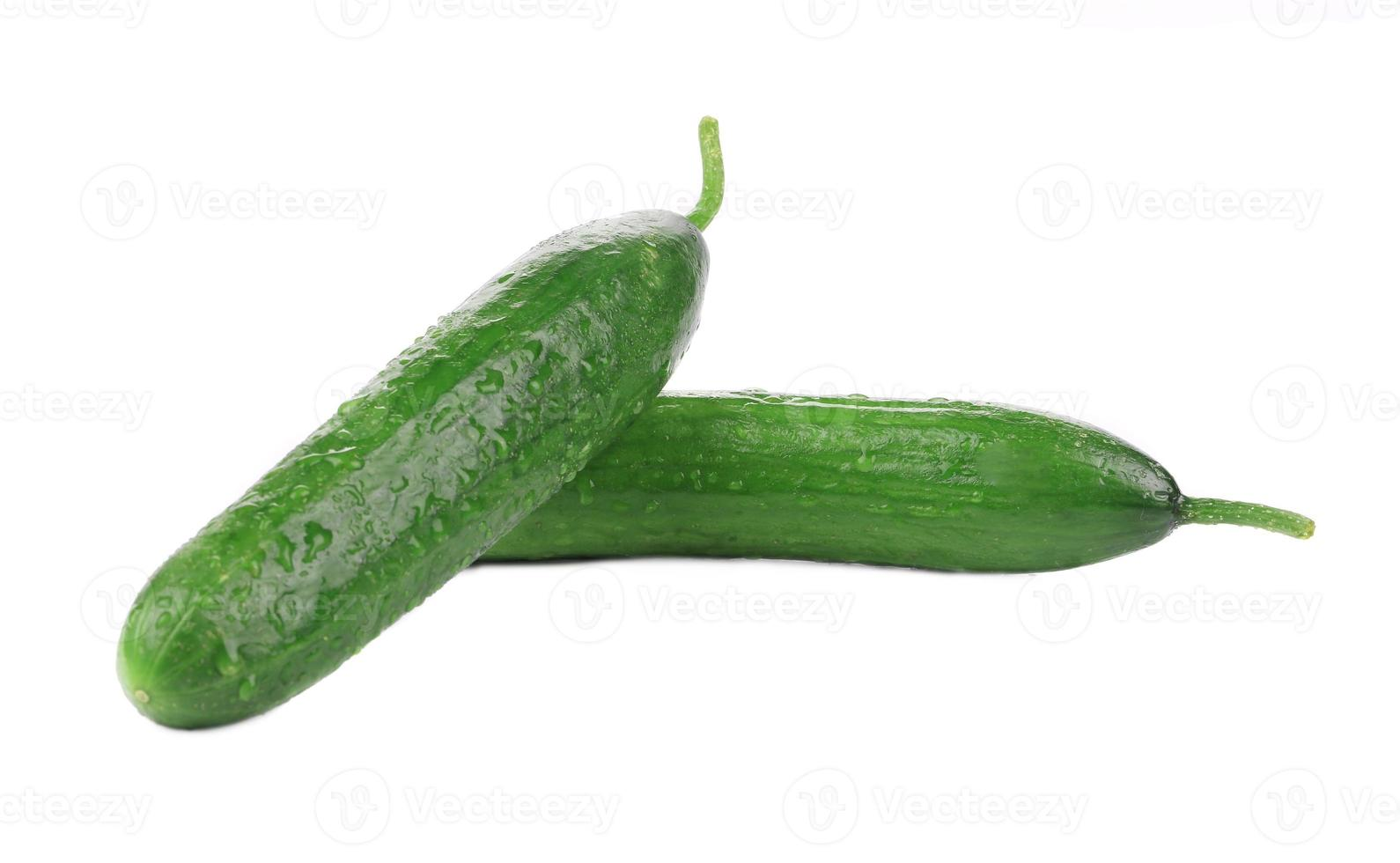 Two fresh beautiful cucumbers. photo