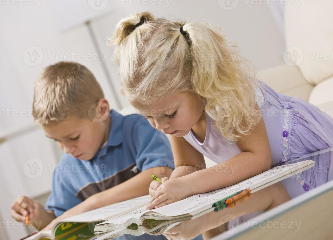 Young Children Coloring photo