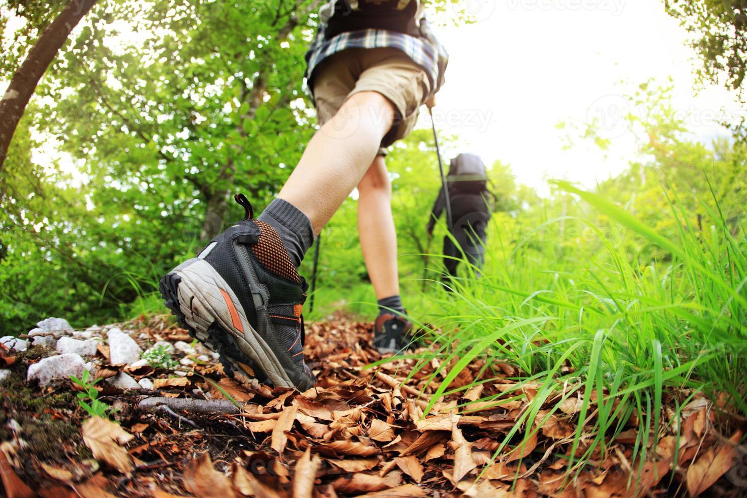 Nordic walking legs in mountains photo