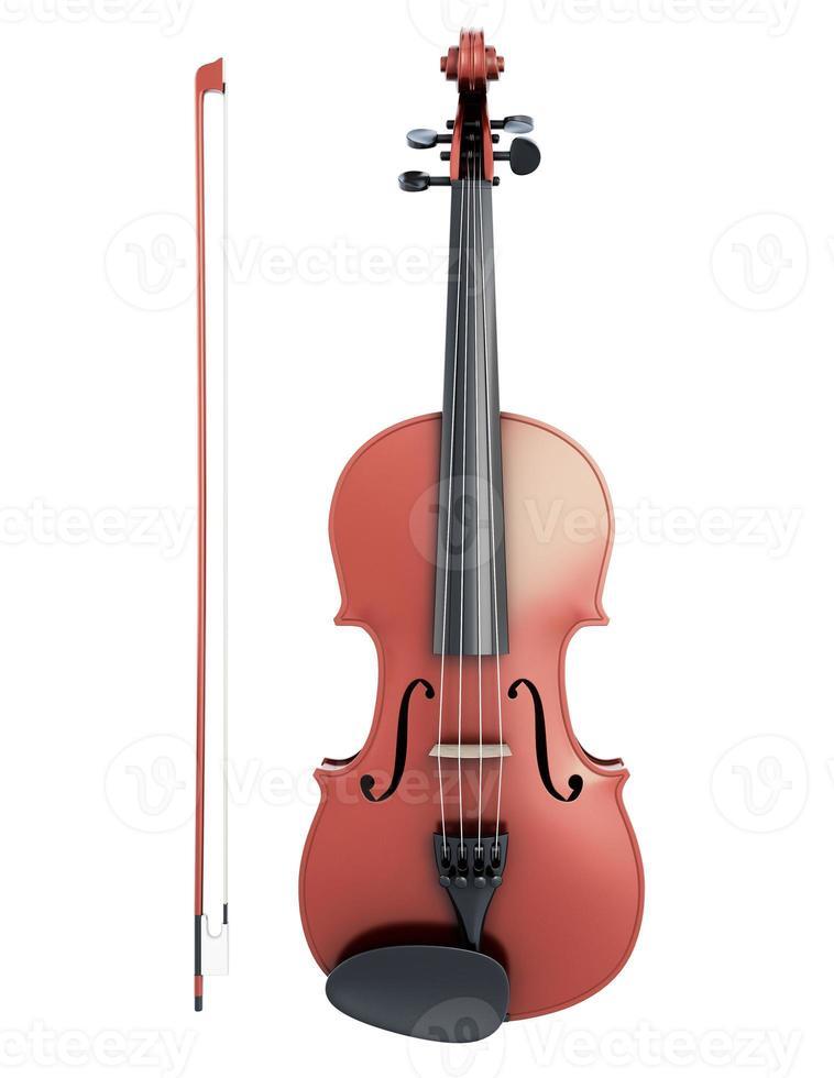 Vista frontal del violín y el violín foto