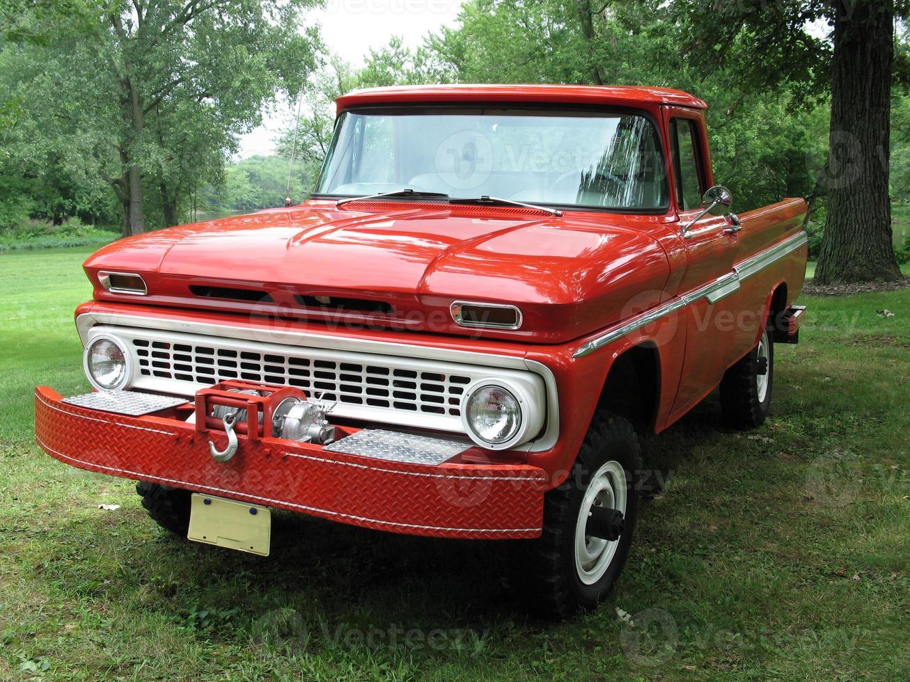 Big red pickup truck photo