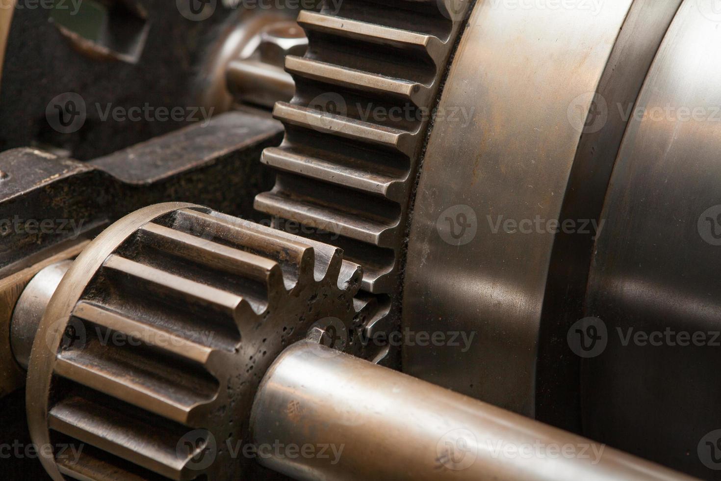 engranaje de la máquina de engranajes de la industria, cooperación empresarial, trabajo en equipo y concepto de tiempo foto