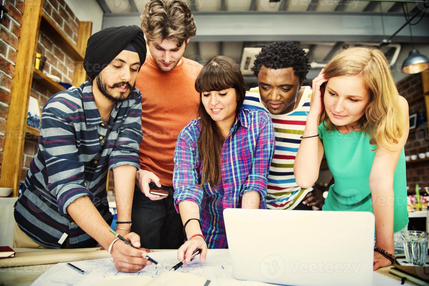 Designer Teamwork Brainstorming Planning Interior Concept photo