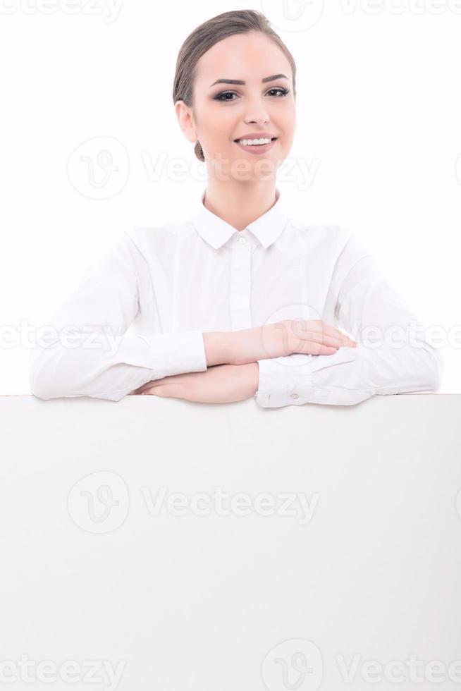 Beautiful lady making advertisement photo