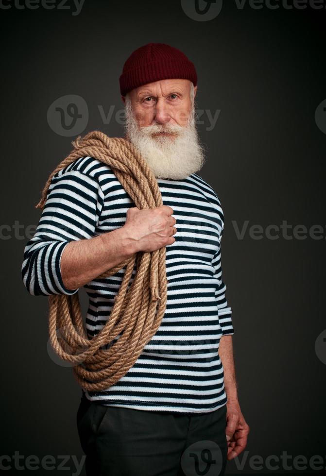 Handsome sailor isolated. Seaman. photo