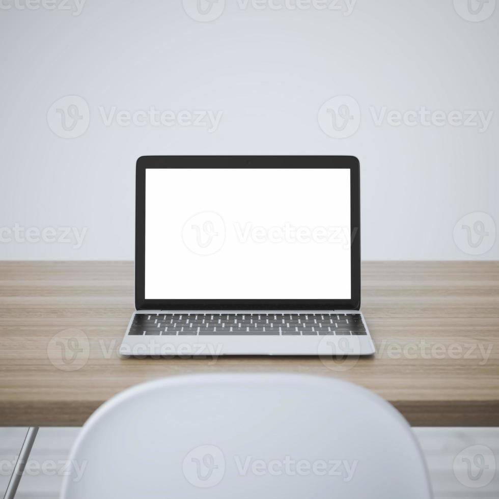Laptop with blank screen on table. 3d rendering photo