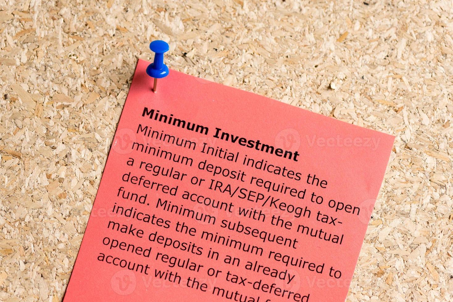minimum investment photo