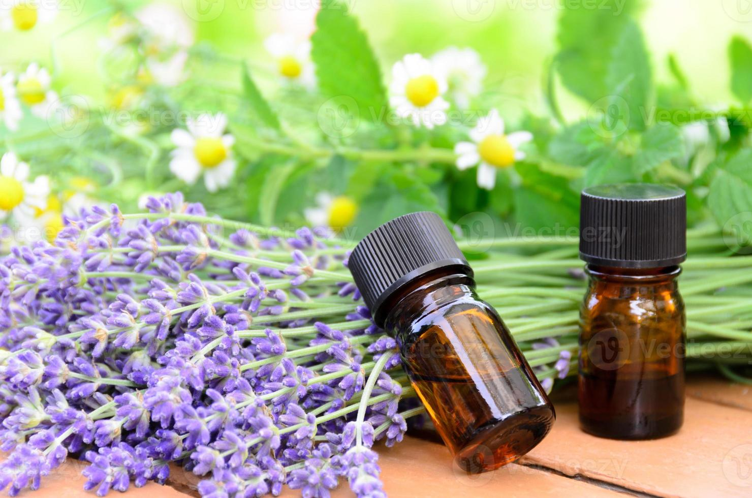 aromatherapy treatment with herbal flowers photo