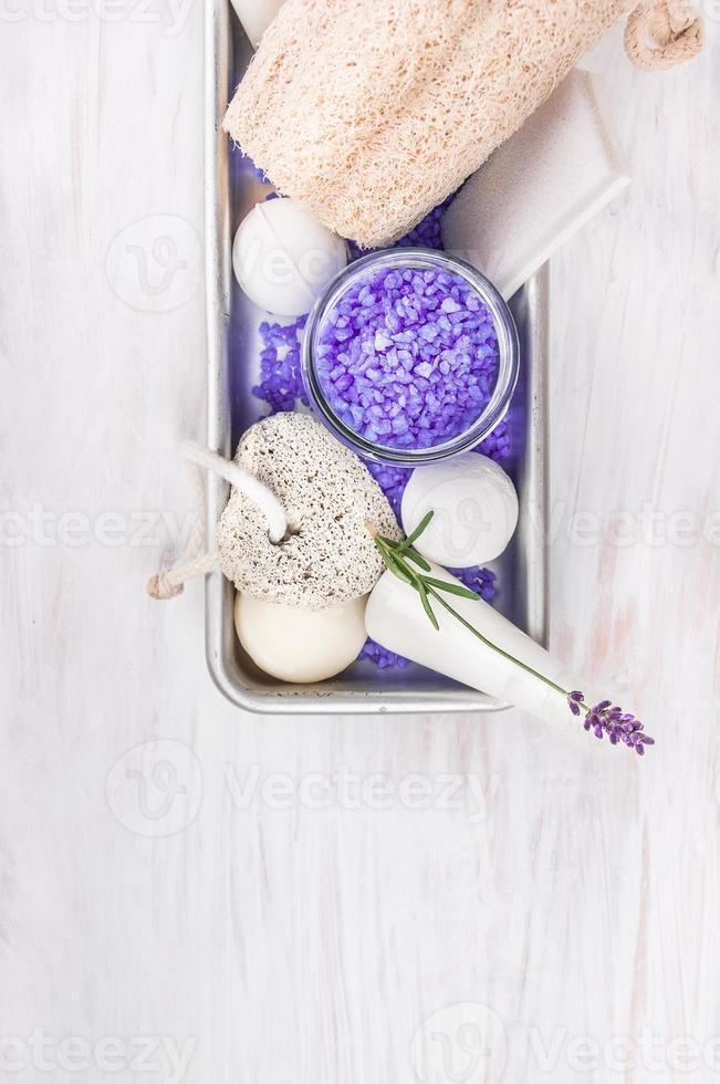 Bath set with lavender, spa background photo