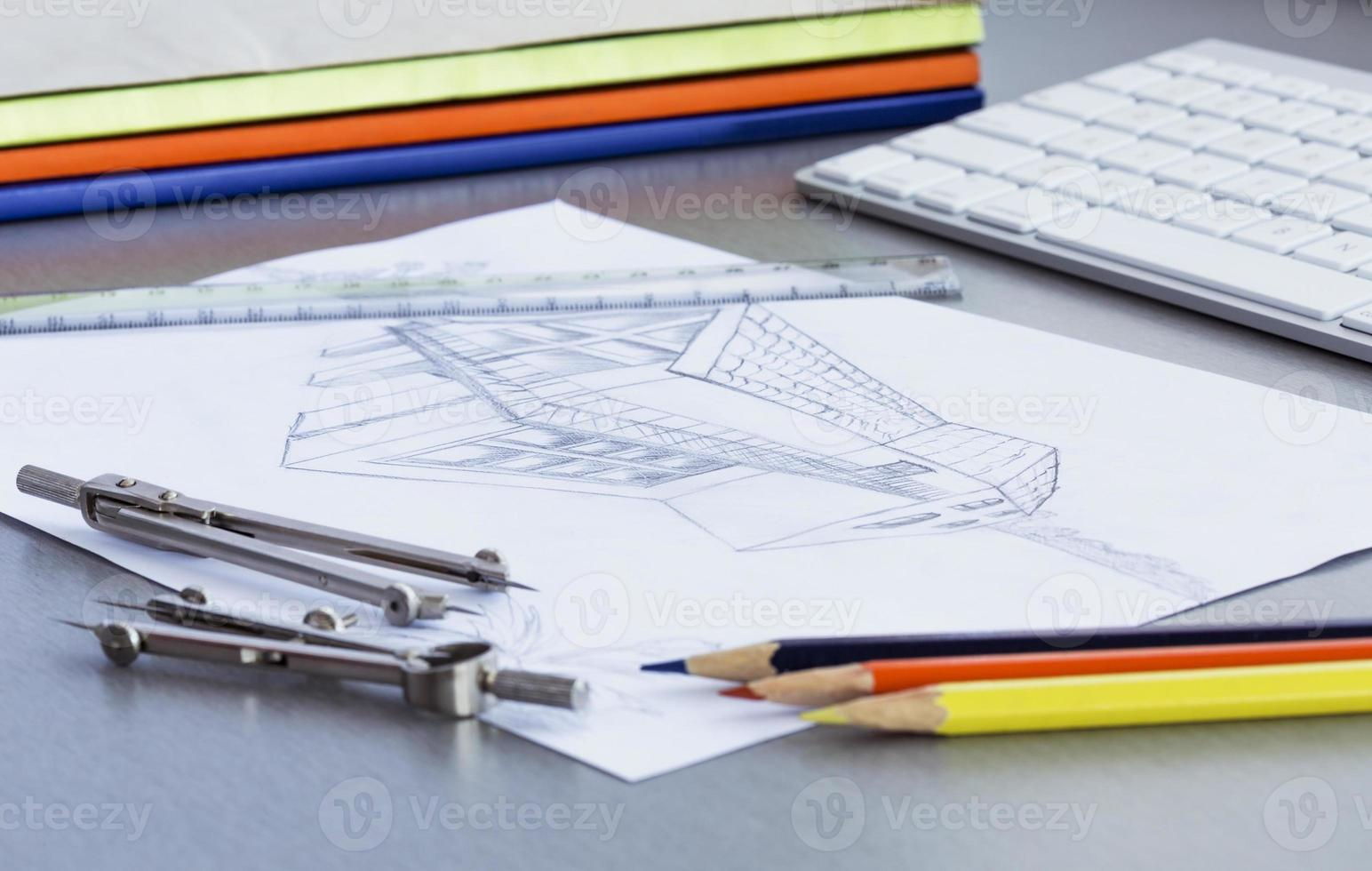 Working place of designer photo