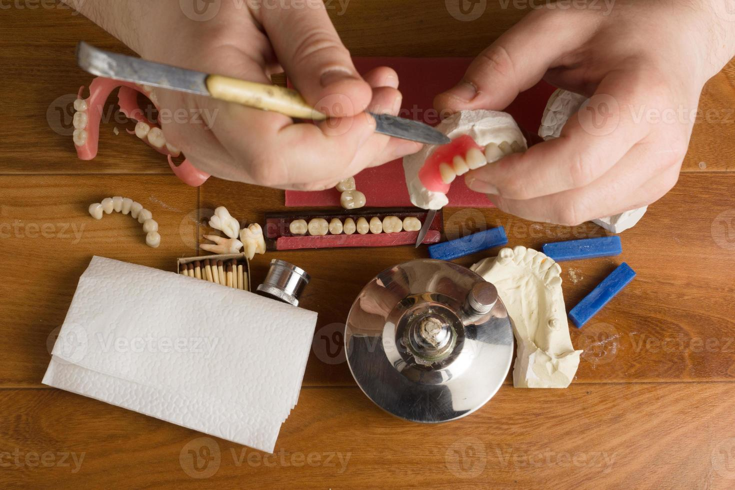 place of work of the dental technician with hands photo