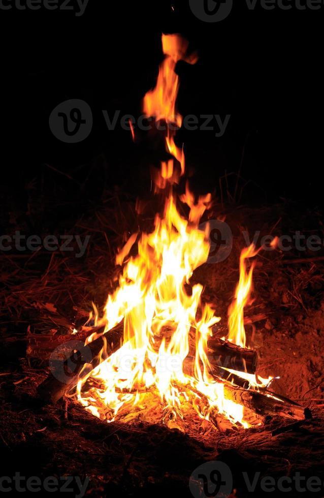 fire in dark night photo
