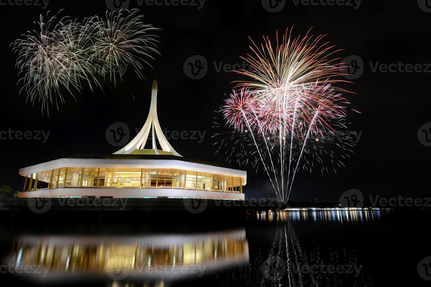 Fireworks on rama nine park, Thailand. photo