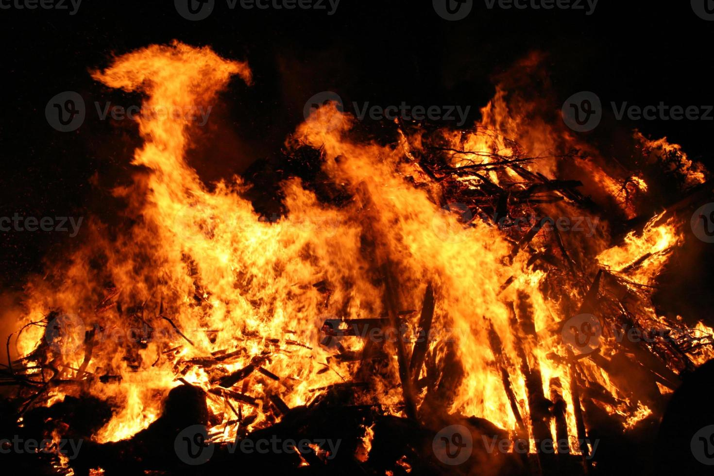 Conflagration in a dark night photo