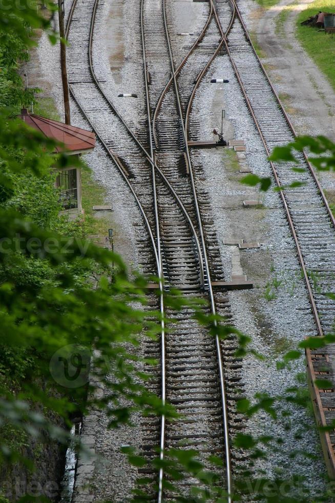 Switches on railway tracks photo