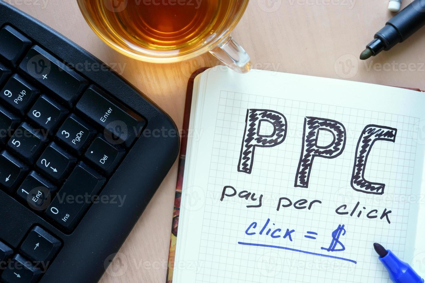 Notepad with word PPC pay per click concept and marker. photo