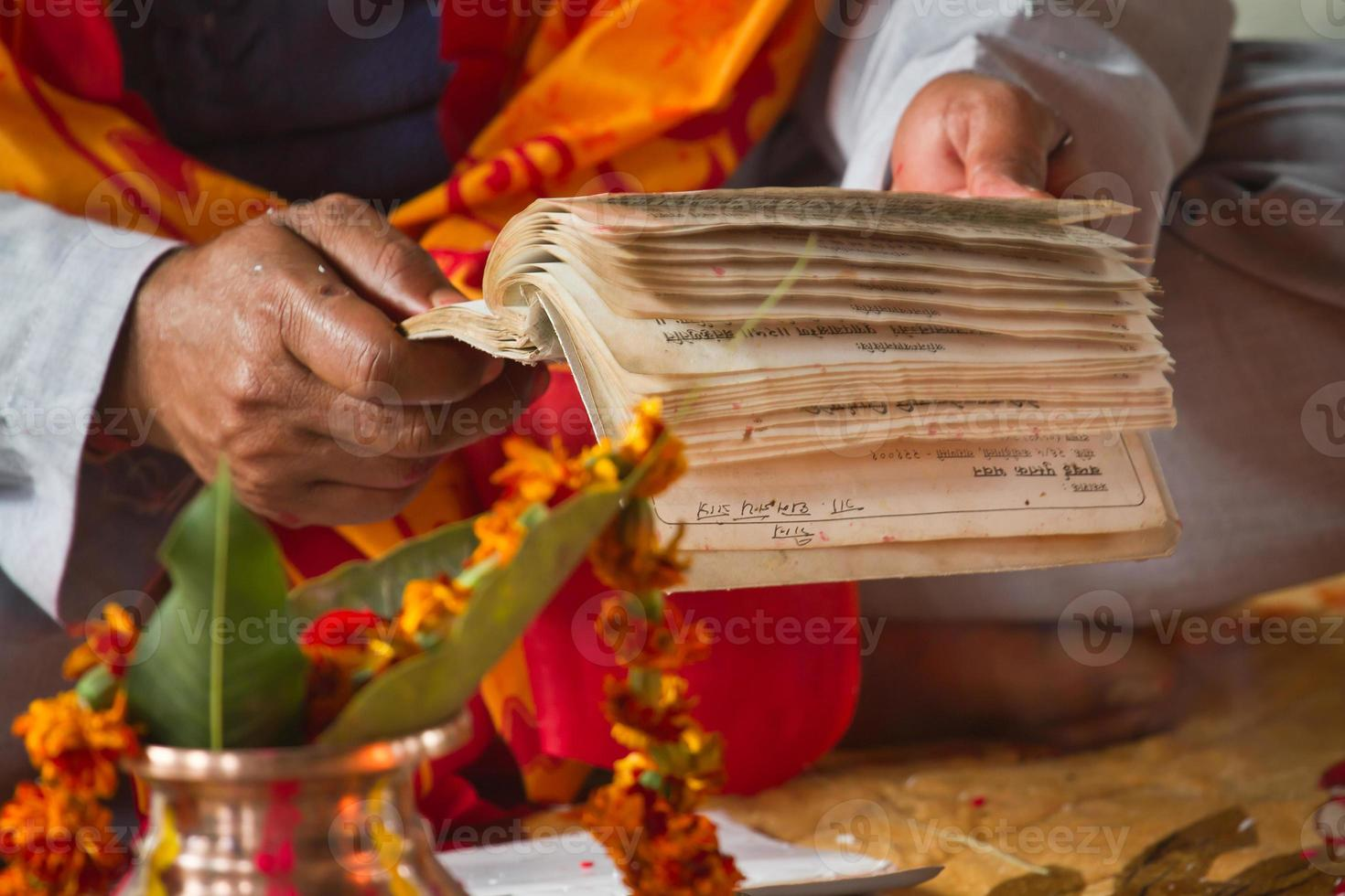Brahman puja during hindu festival in Nepal photo