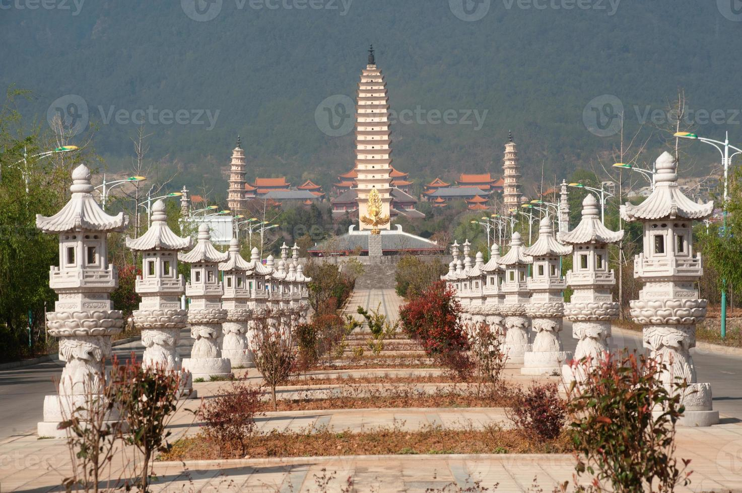 The Chongsheng temple and three pagodas culture tourist area. photo