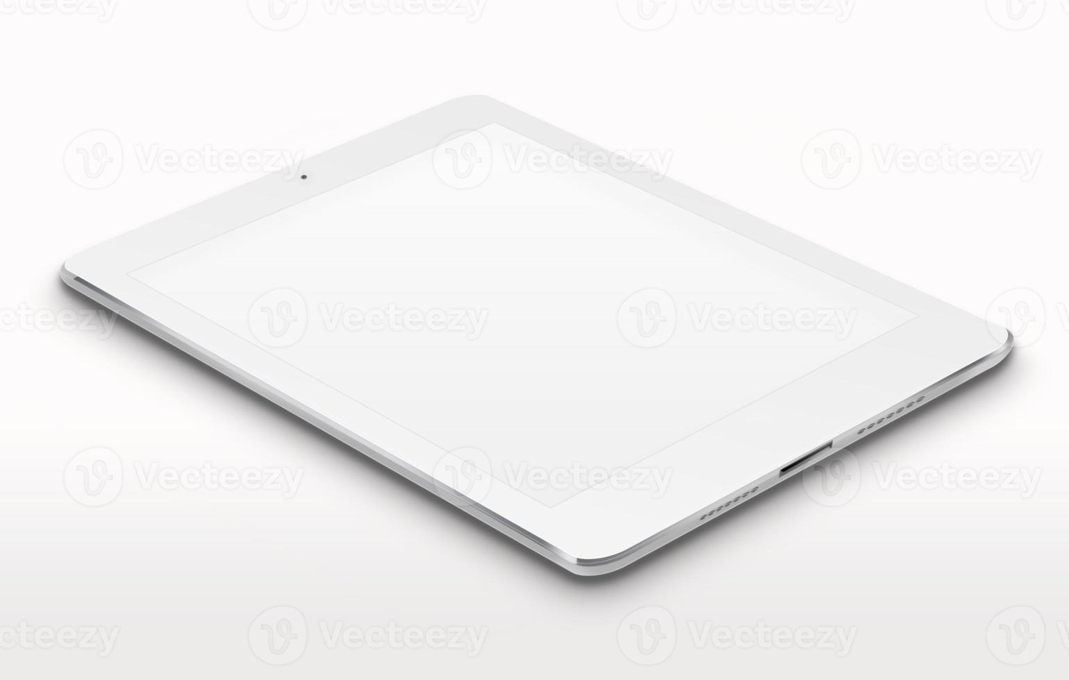 Realistic tablet computer with blank screen. photo