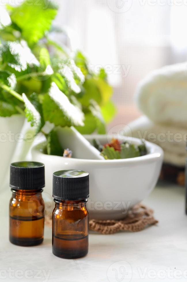 alternative therapy with herbs and essential oils photo