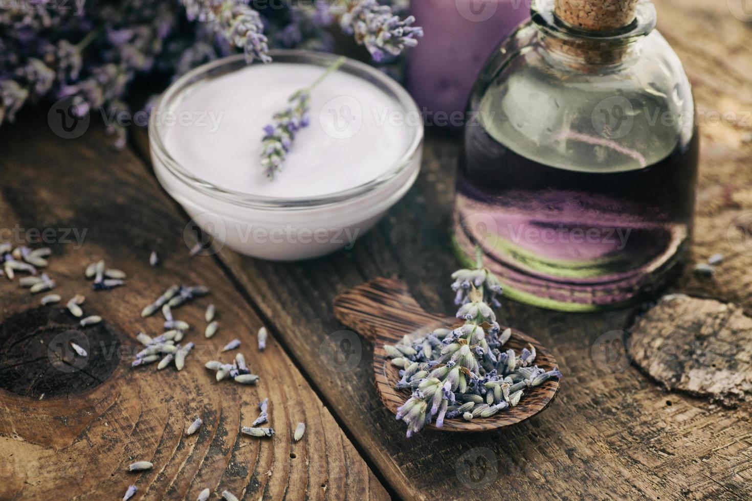 Lavender spa setting photo