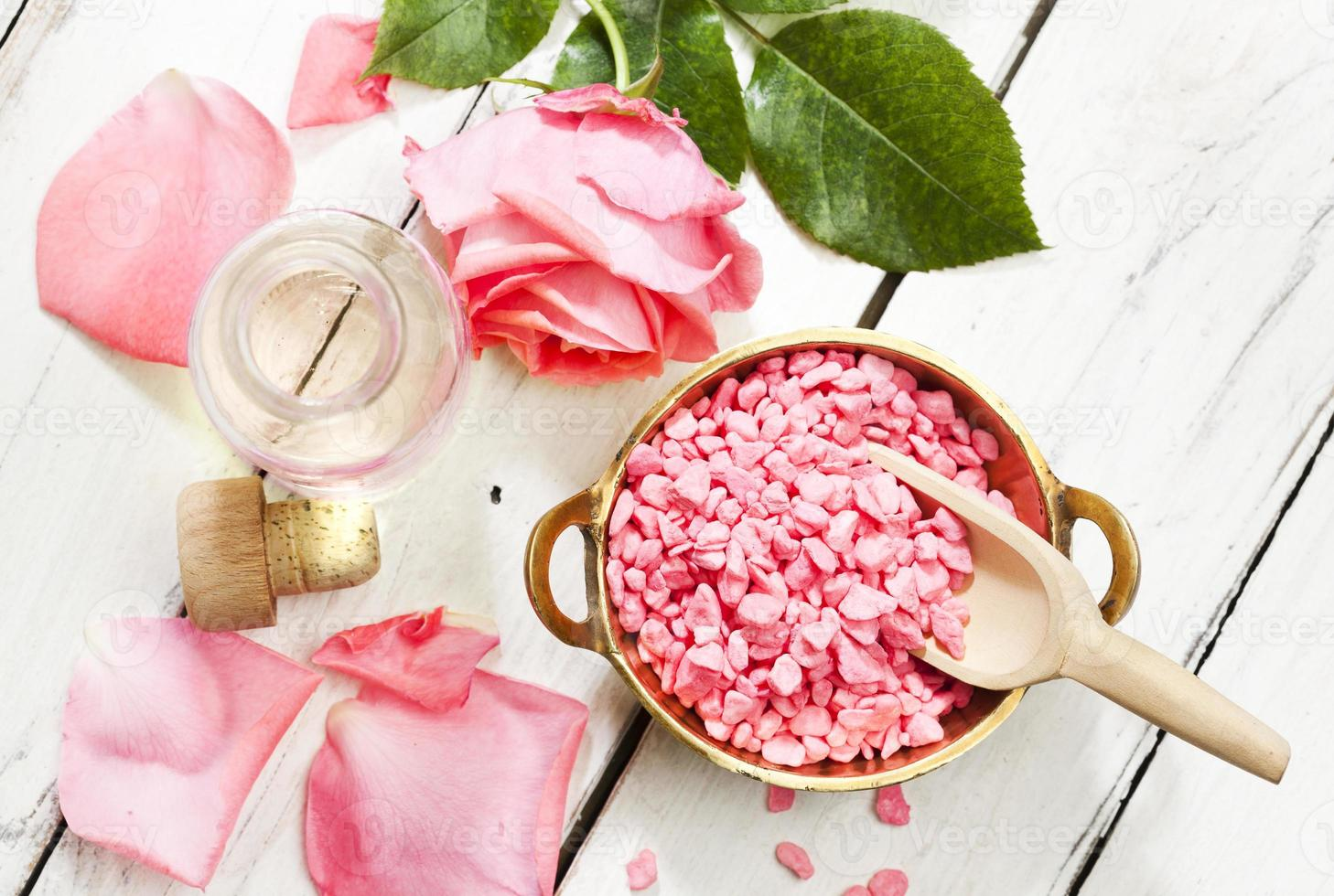 Rose aromatherapy products, top view photo