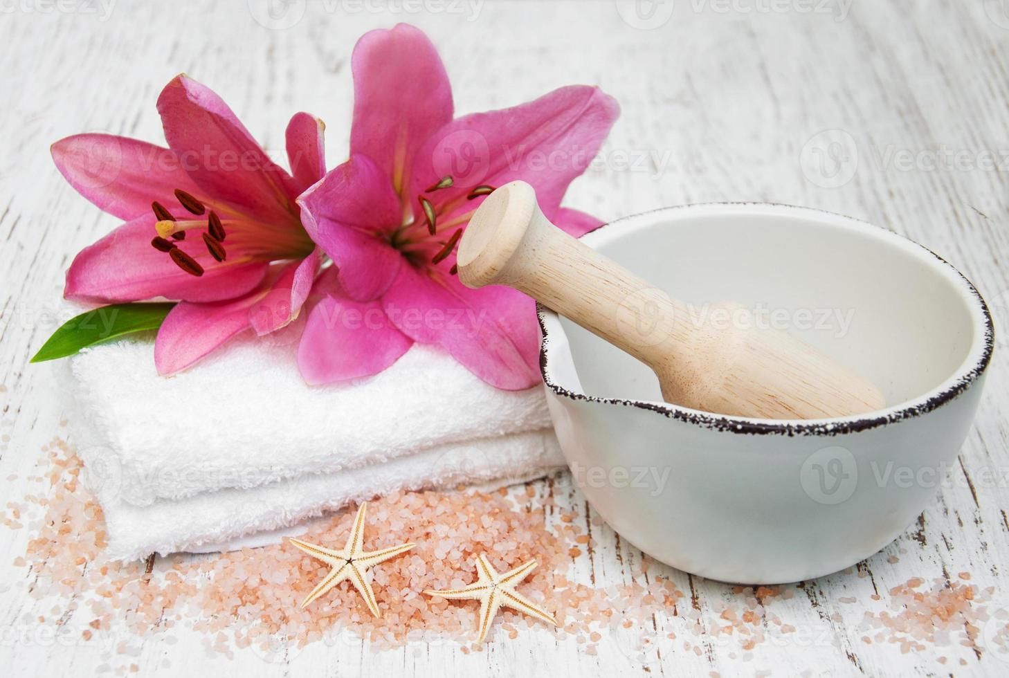 Spa products with lily flowers photo