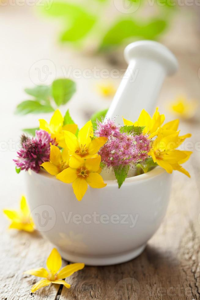 mortar with flowers and herbs photo