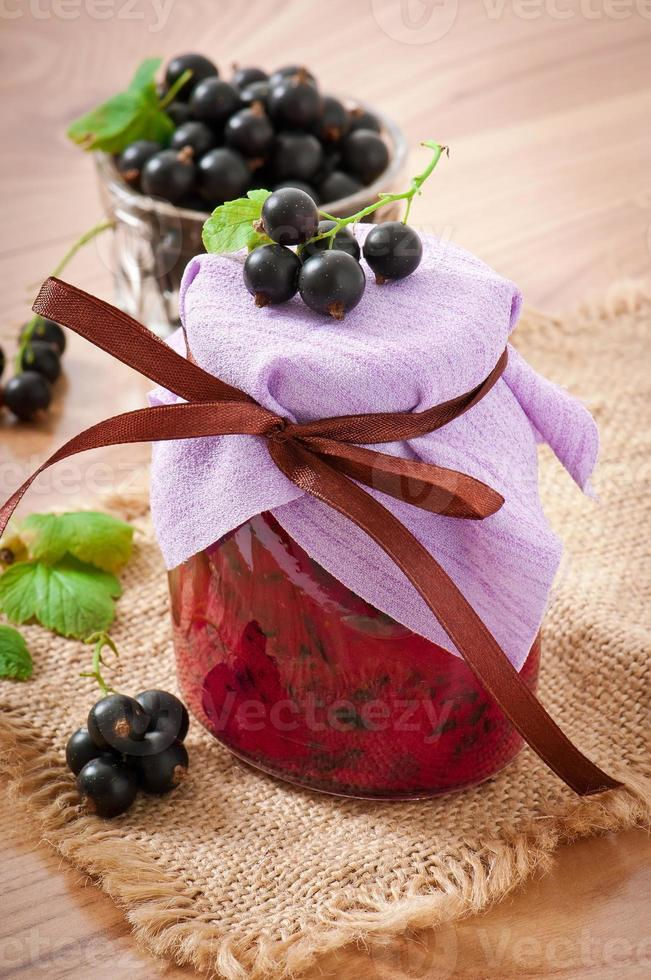 Homemade black currant jelly photo