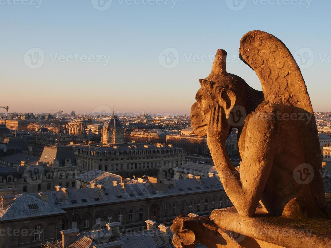 Chimera on Top of the Tower of Notre Dame Cathedral photo