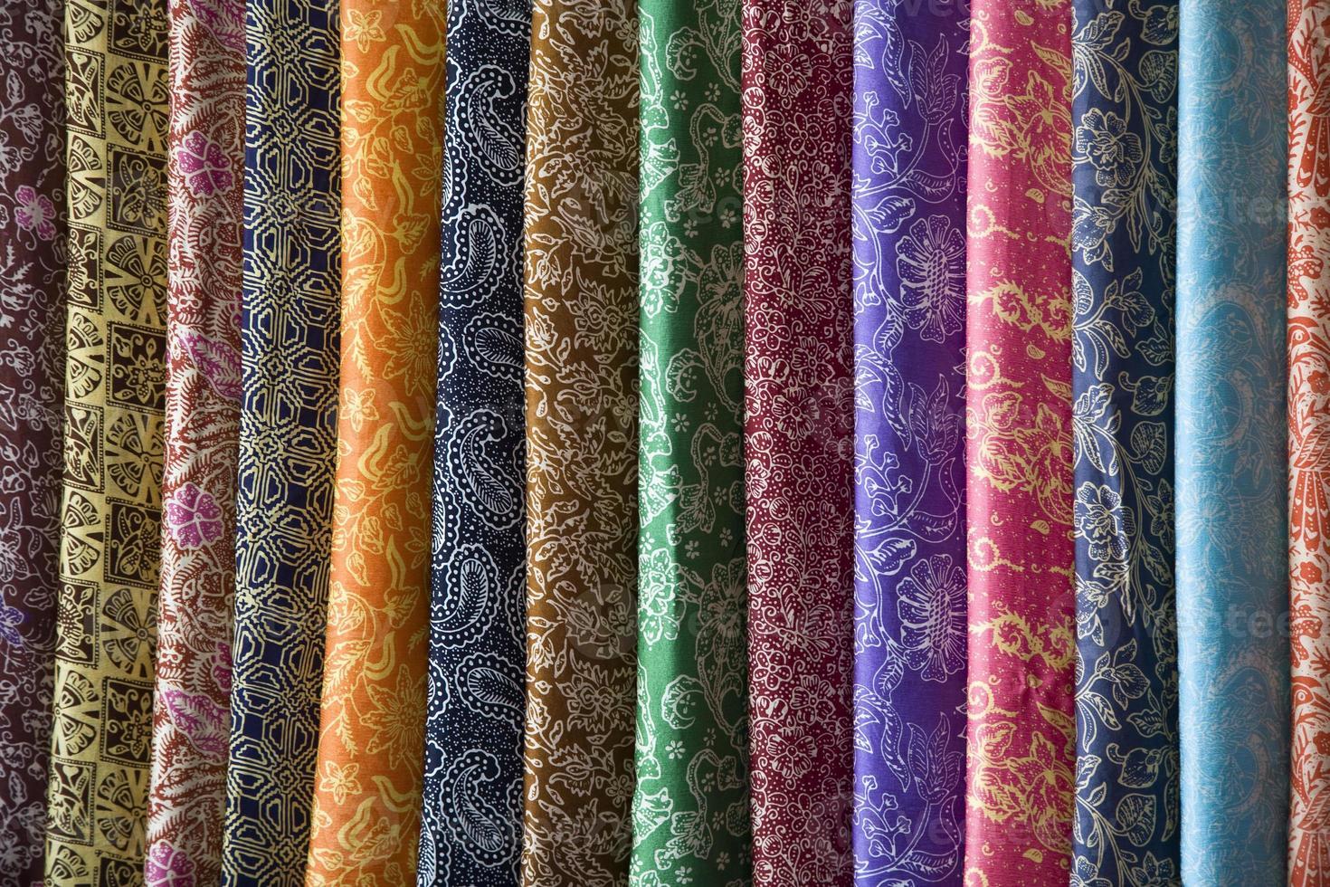A vibrant selection of Batik sarongs photo
