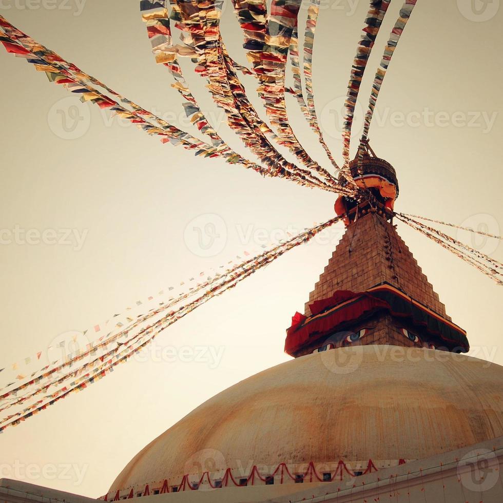 Buddhist shrine Boudhanath Stupa - vintage filter. Kathmandu, Nepal. photo