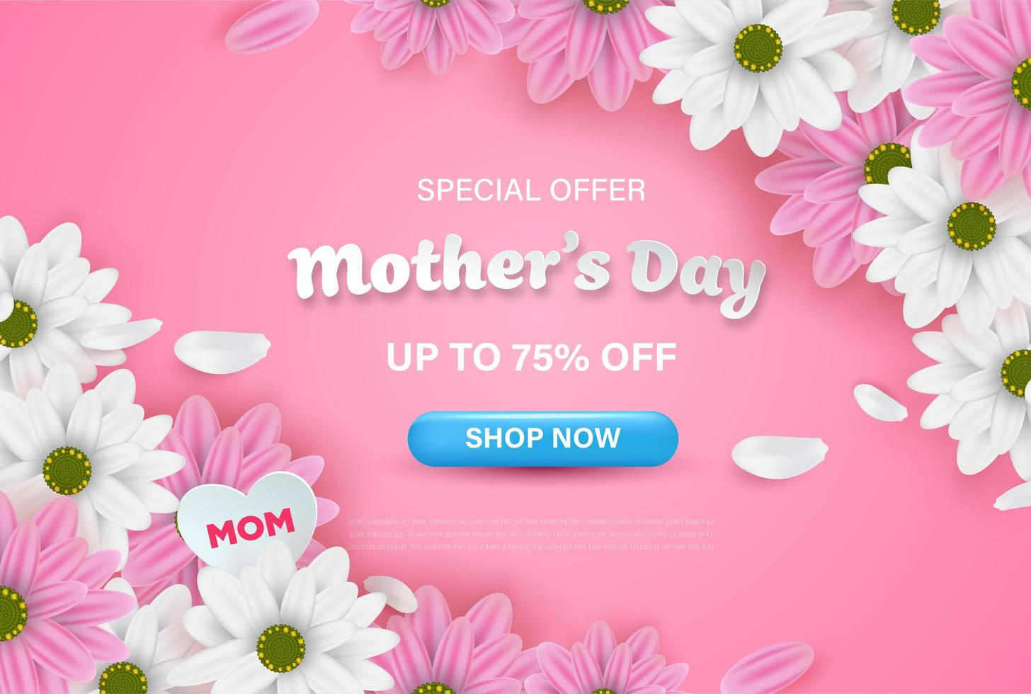 Pink Mother's Day Sale Web Banner with Flowers vector