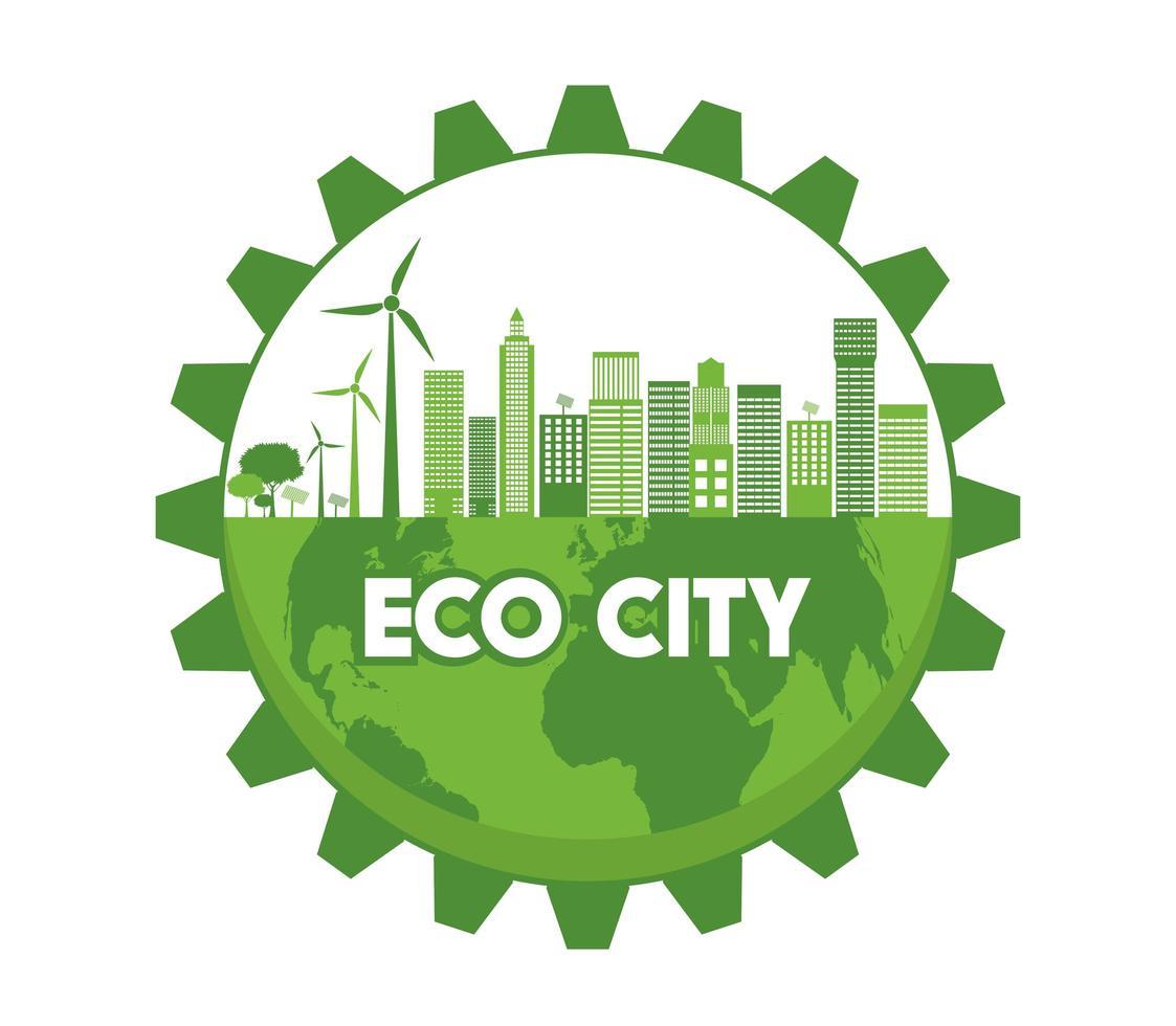 Eco City on Globe in Gear Shape vector
