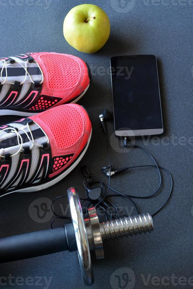 sneakers, clothing for fitness photo
