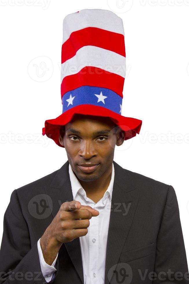 Hombre afroamericano negro vestido como tío Sam foto